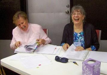 Gaile and Kaaren preparing to help minister