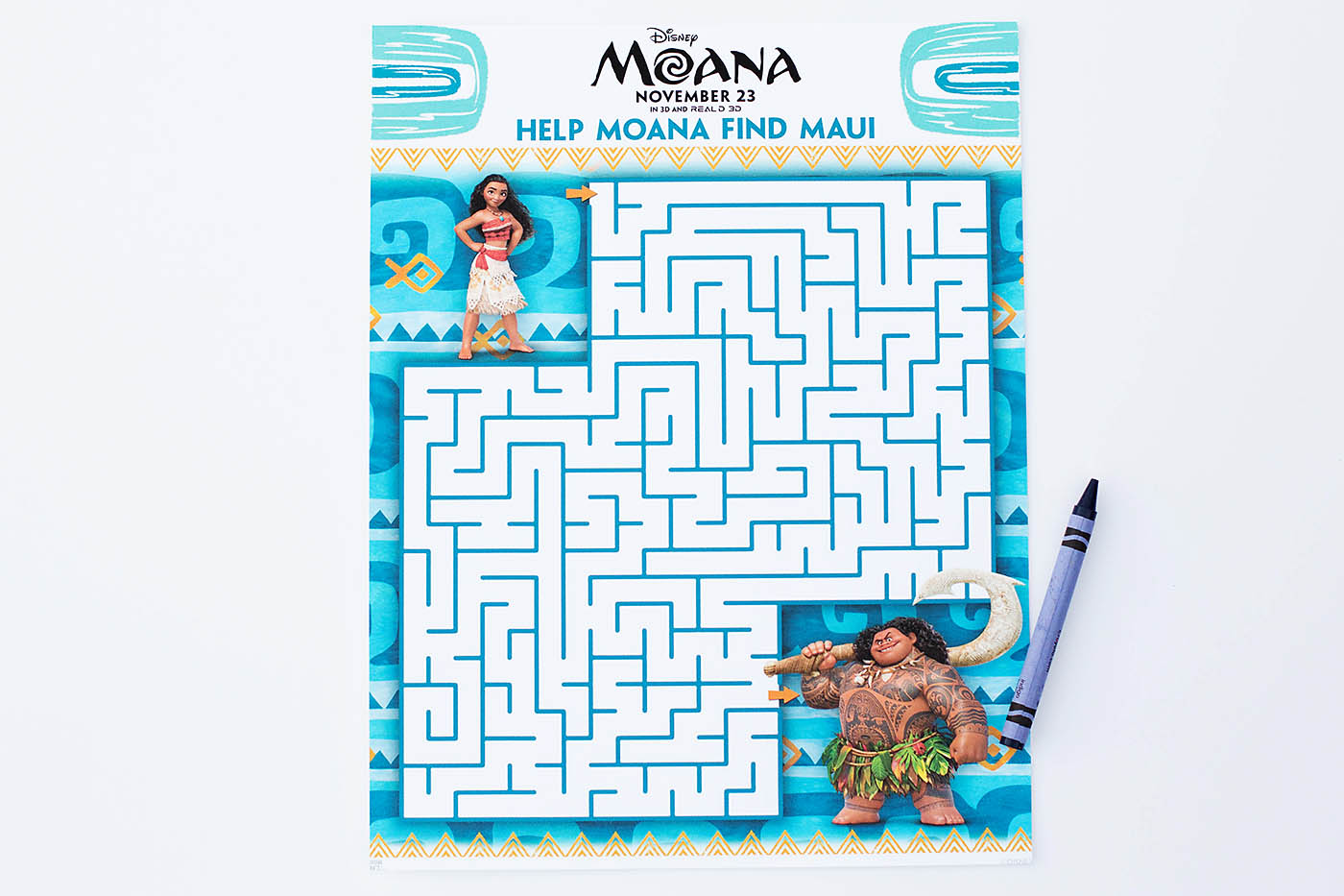 Moana Printable Coloring Pages Maze Bookmarks Amp Matching