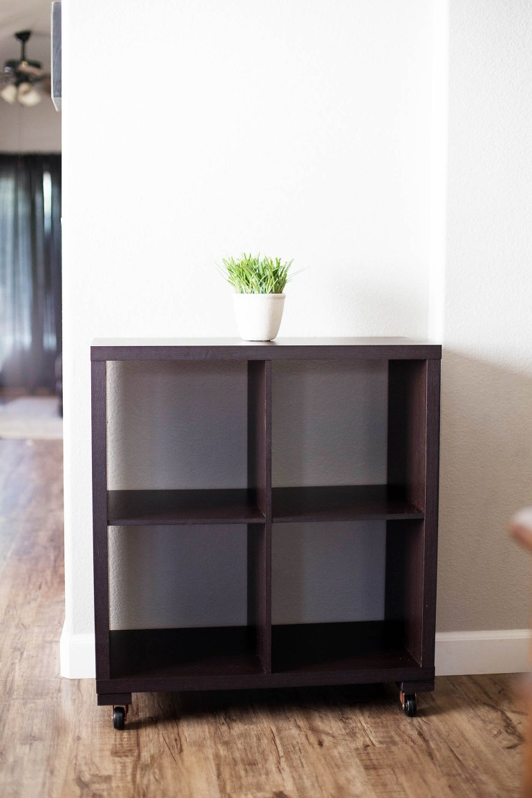 DIY cube shelf to cart makeover