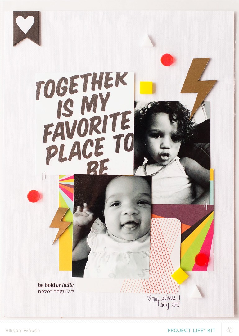 9x12 scrapbook page to insert into a Project Life album - from Allison Waken at  All for the Memories