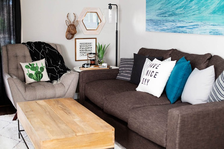 Mix-and-Match family room corner for fall with accessories from Target!