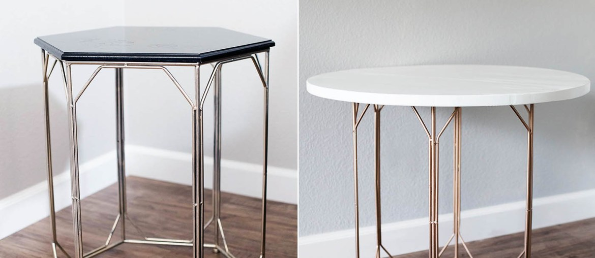 DIY Side Table - replace the top on an existing side table to create a larger piece