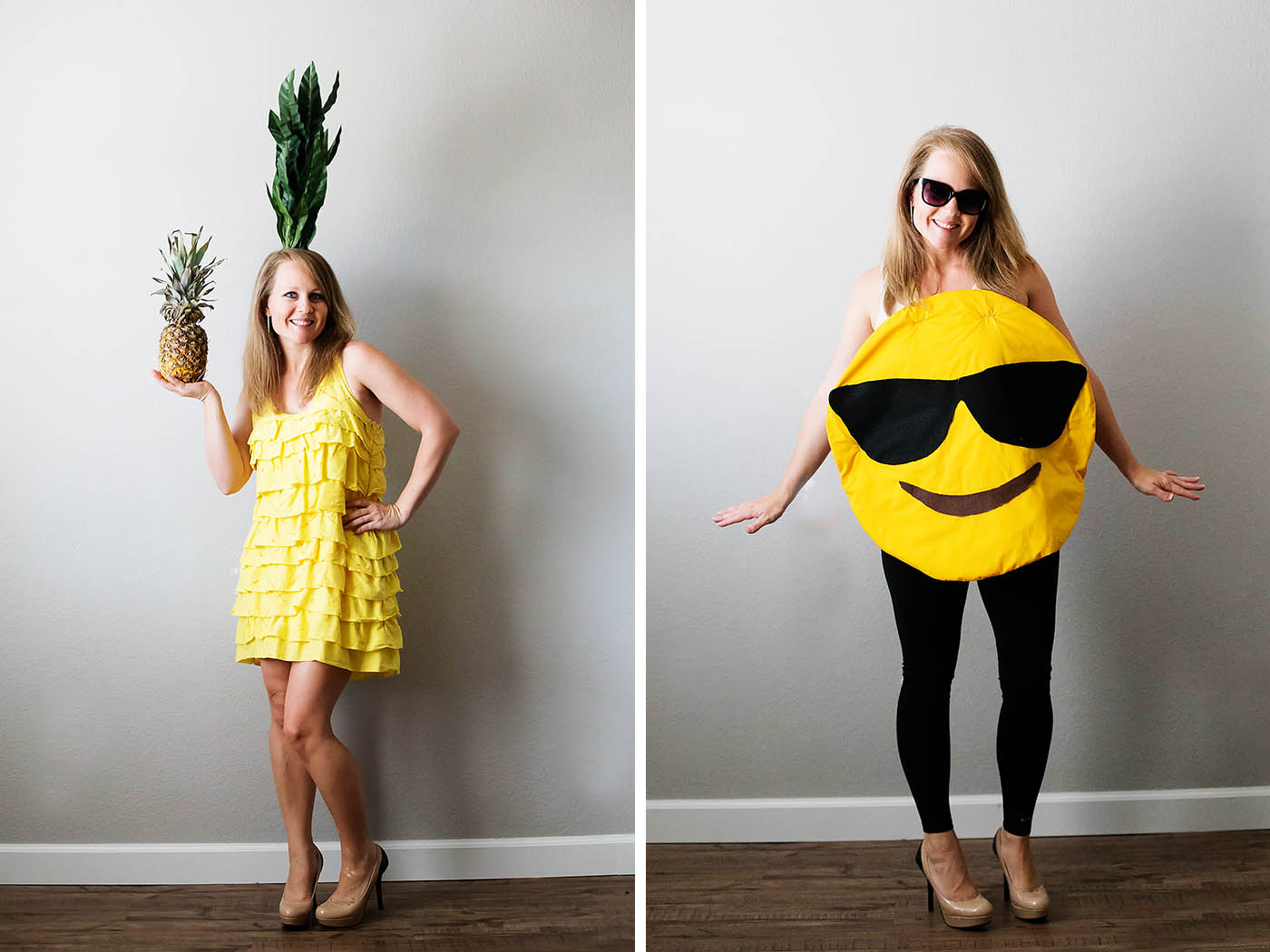 DIY pineapple and emoji costume from Savers