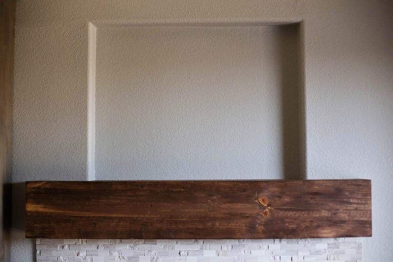DIY fireplace before and after at All for the Memories
