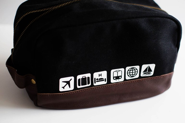 Personalized toiletry bag - a fun addition to a men's or teen gift!