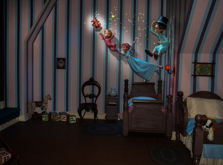 PETER PANÕS FLIGHT PIXIE DUSTED WITH ÔNEW MAGIC' (ANAHEIM, Calif.) Ð Featuring a variety of special effects and a reimagined nursery scene, the classic attraction continues to delight guests on a flight to Never Land. (Paul Hiffmeyer/Disneyland Resort)