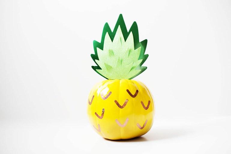 A pumpkin decorated like a pineapple!