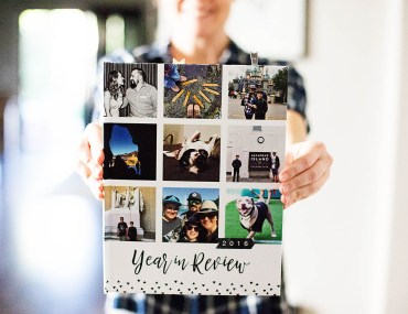 Year in Review hybrid album made with a Mixbook book bound album and personalized with traditional scrapbooking supplies