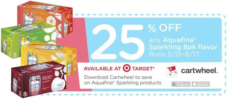 25% any Aquafina Sparkling 8pk flavor, runs 5/21 - 6/17