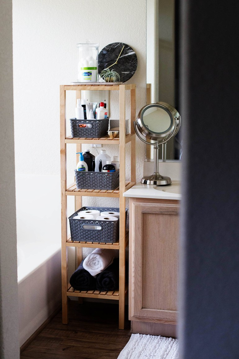 Open Shelving Bathroom Organization