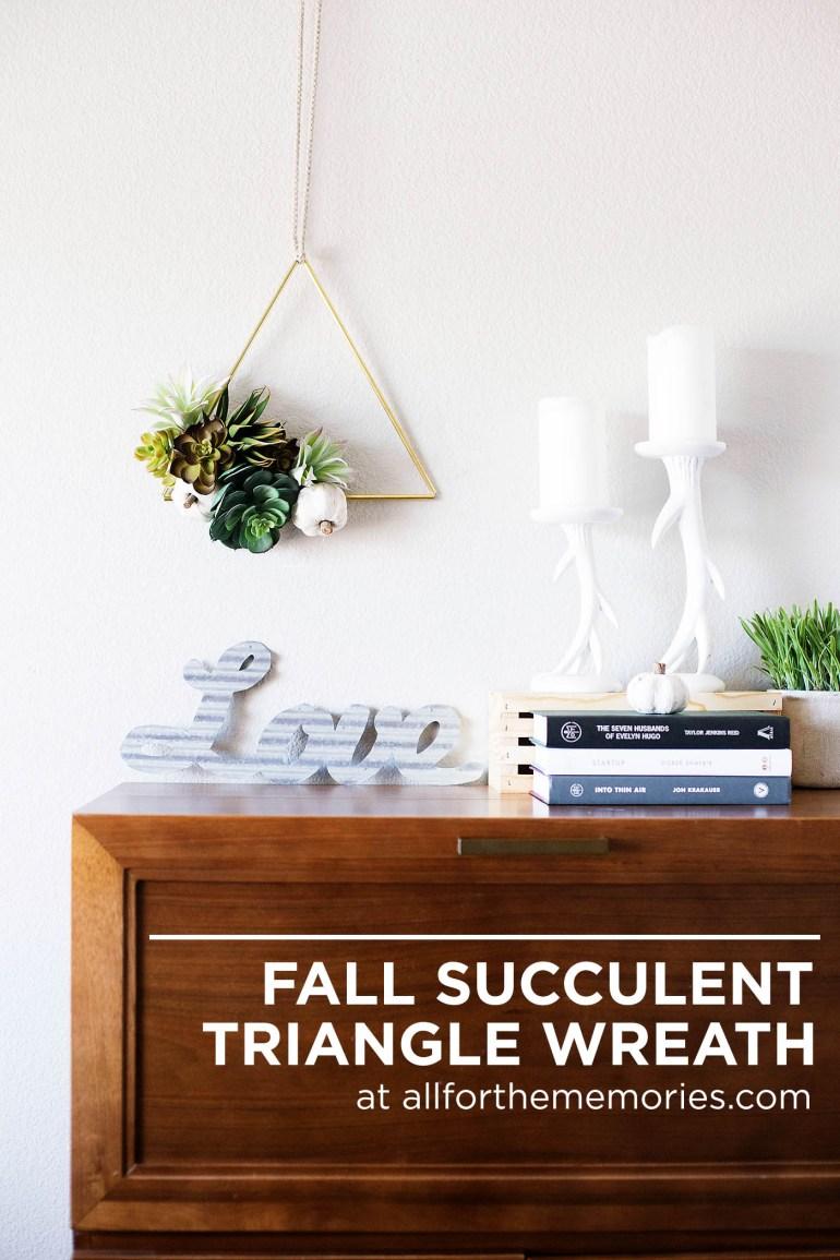 DIY Fall succulent triangle wreath