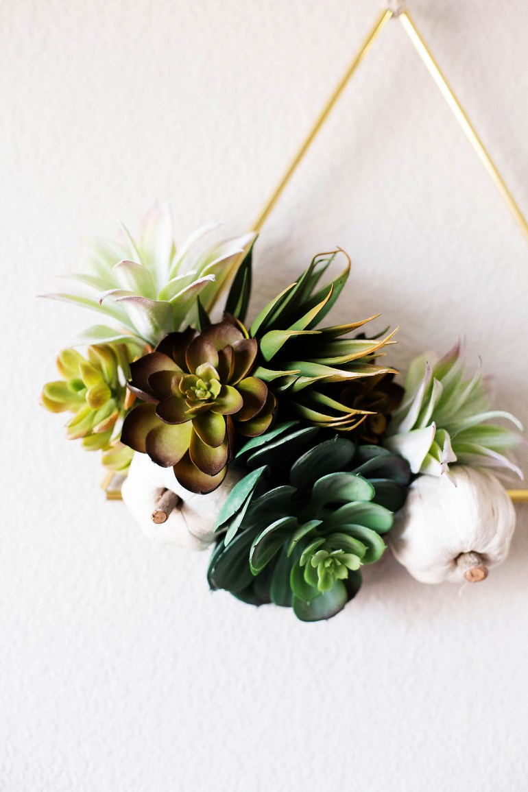 DIY Fall succulent triangle wreath