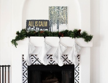 Simple cozy Christmas mantle at All for the Memories