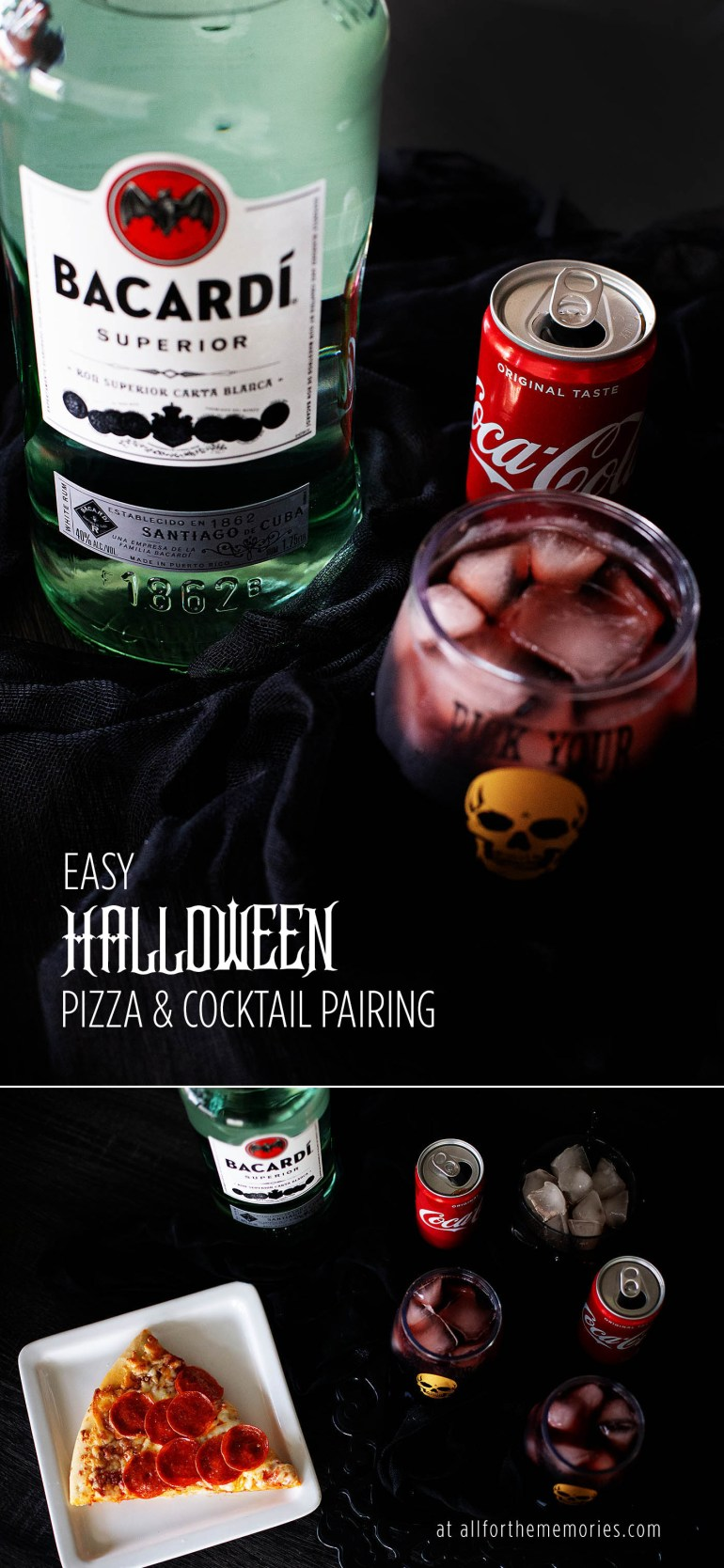 Fun EASY Halloween pizza & wine cocktail pairing + recipe for a Rum Kalimotxo