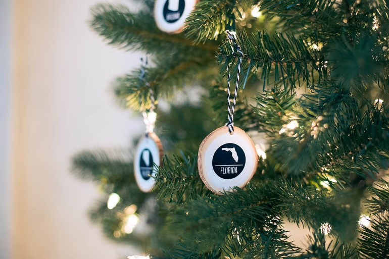 DIY state travel ornaments