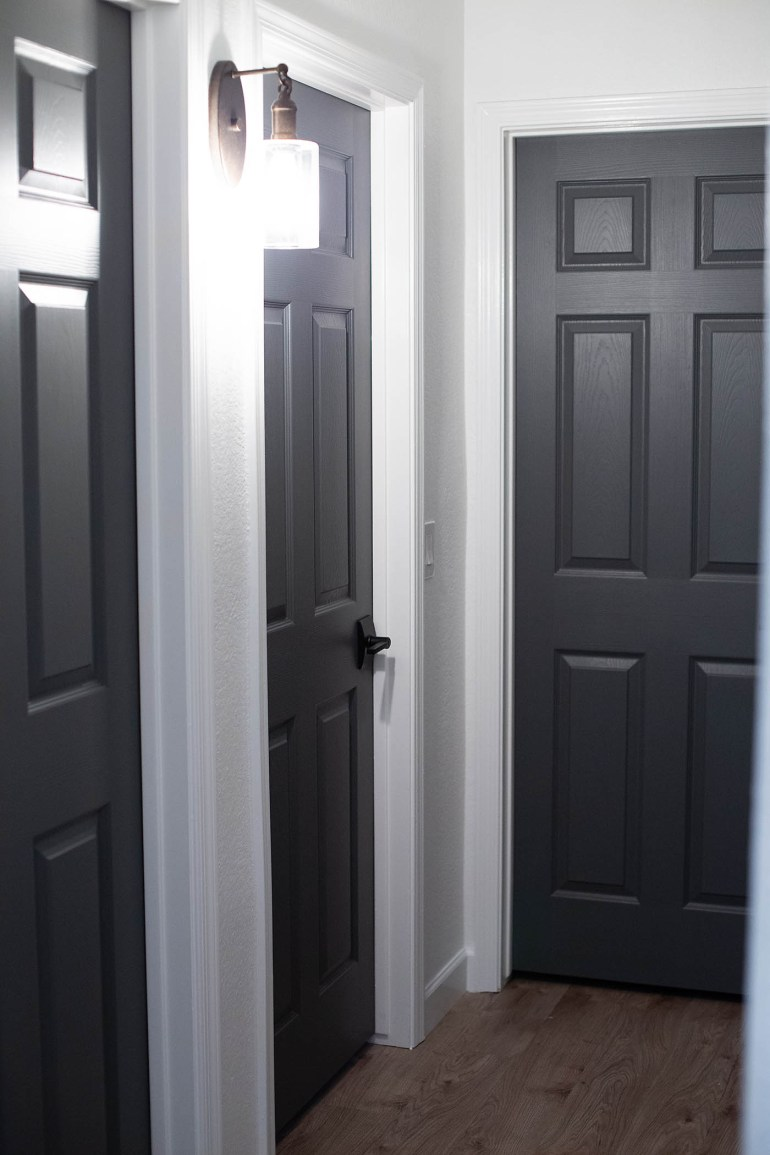 grey painting interior doors for bedroom | Dark Gray Doors - How to Paint Your Own - All for the Memories
