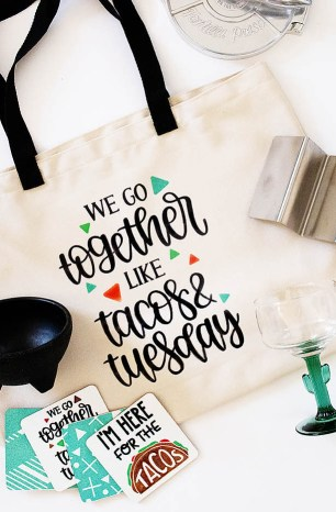 DIY Taco Tuesday Gift Bag & Coasters with Cricut Infusible Ink
