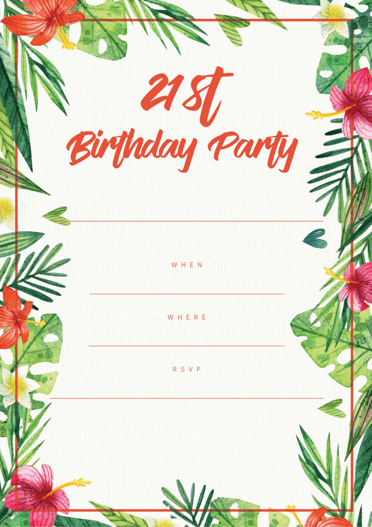 Free 21st Birthday Party Invitations | Print At Home Designs