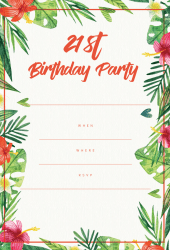 Tropical 21st birthday invitation hibiscus palm leaves