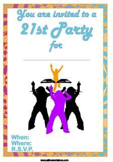 party crowd with dj 21st birthday invite design