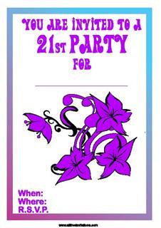 Purple huge flower design 21st birthday invite