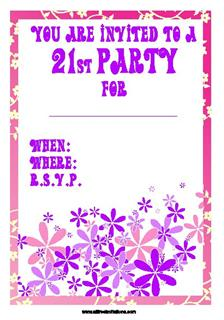 pink and purple small floral 21st birthday invite design