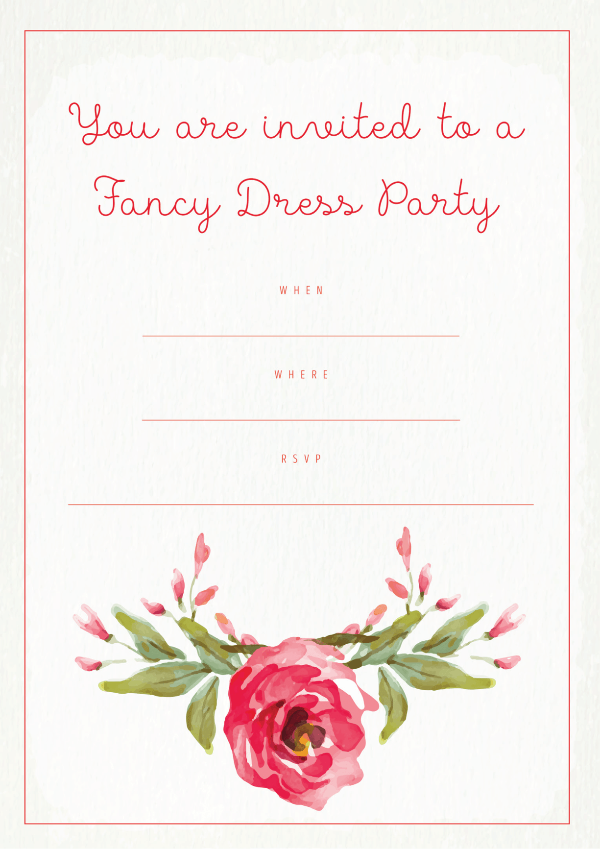 Fancy Dress Party Invitation Pink Rose Design