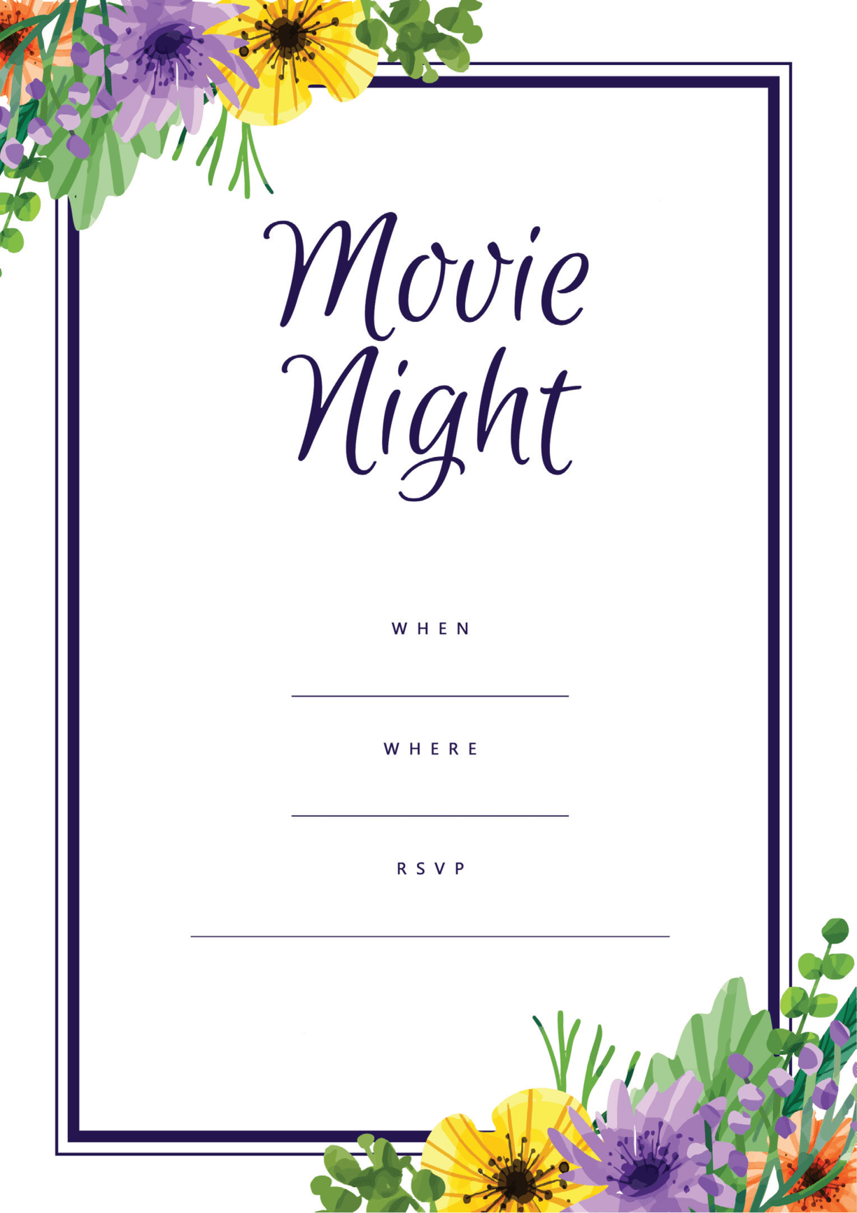 Movie Night party invitation with floral border