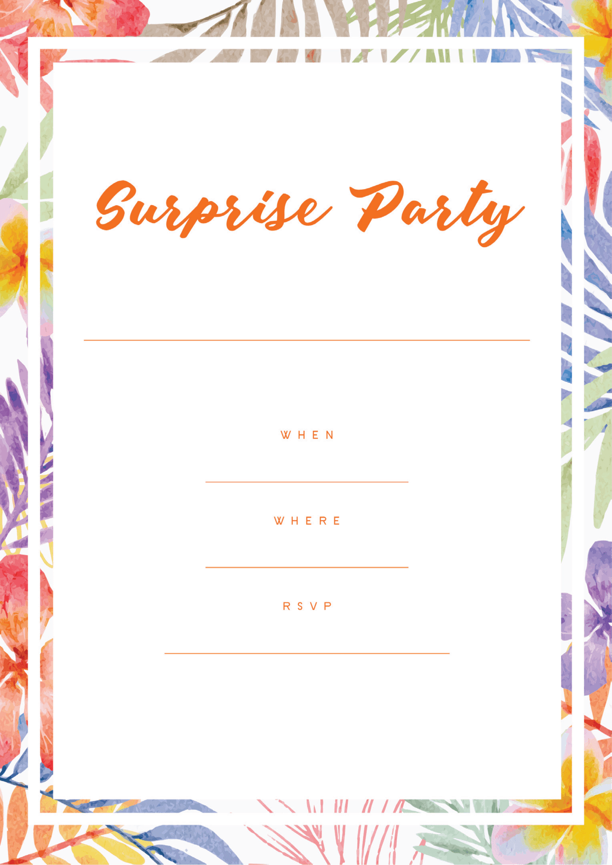 Surprise party invitation floral border design