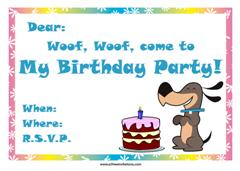 dog with birthday cake and party hat invitation design