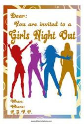 Girls dancing night out party invitation