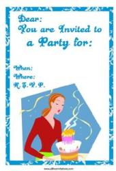 Free party invitation prietty girl cake