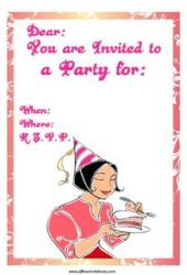 Free party invitation girl pink dress eating