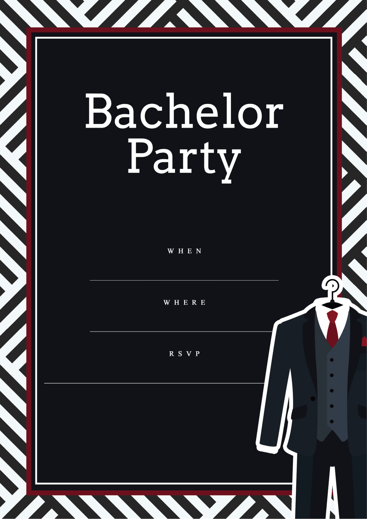 bachelor party invititation black suit and tie
