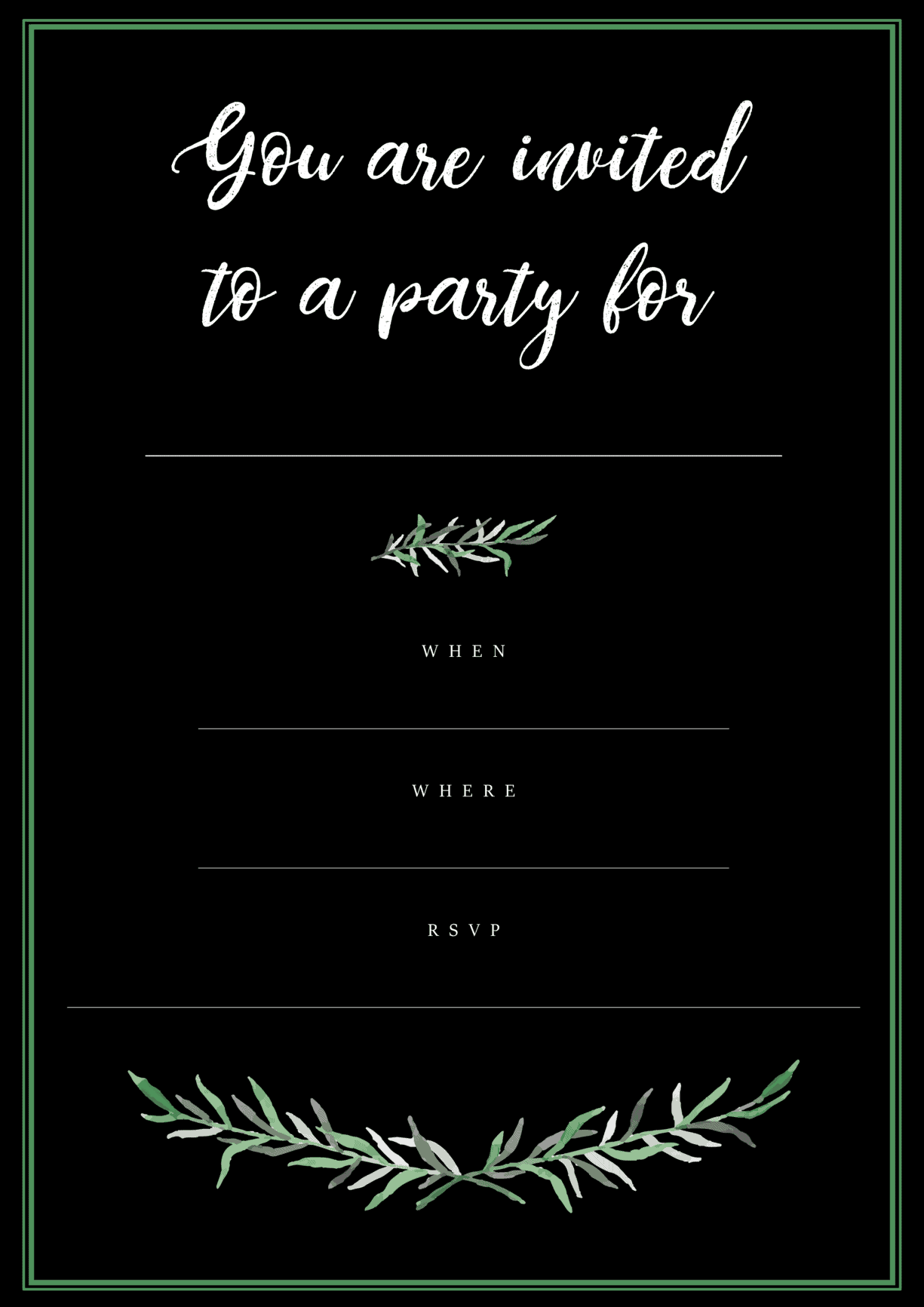 Black Botanical Birthday Party Invitation