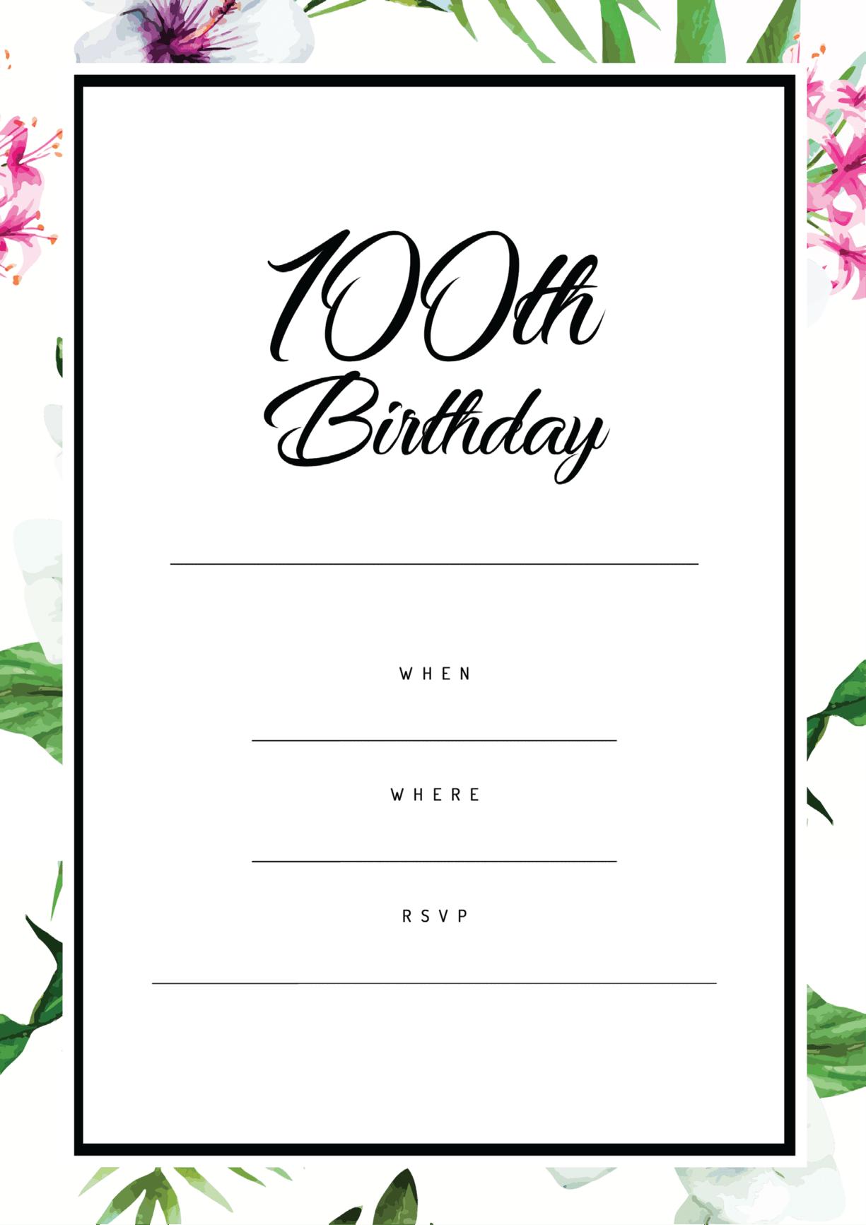 100th birthday party invitation tropical border