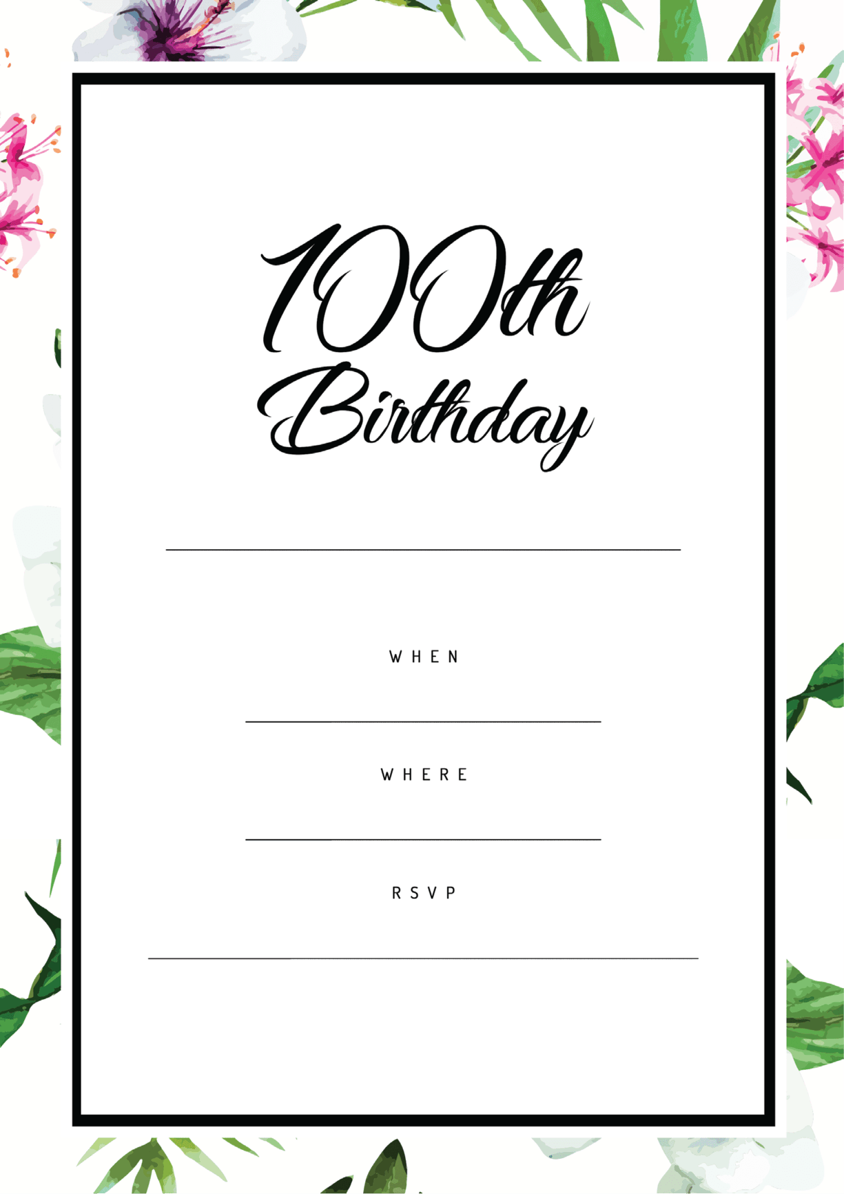 100th birthday party pink green floral design