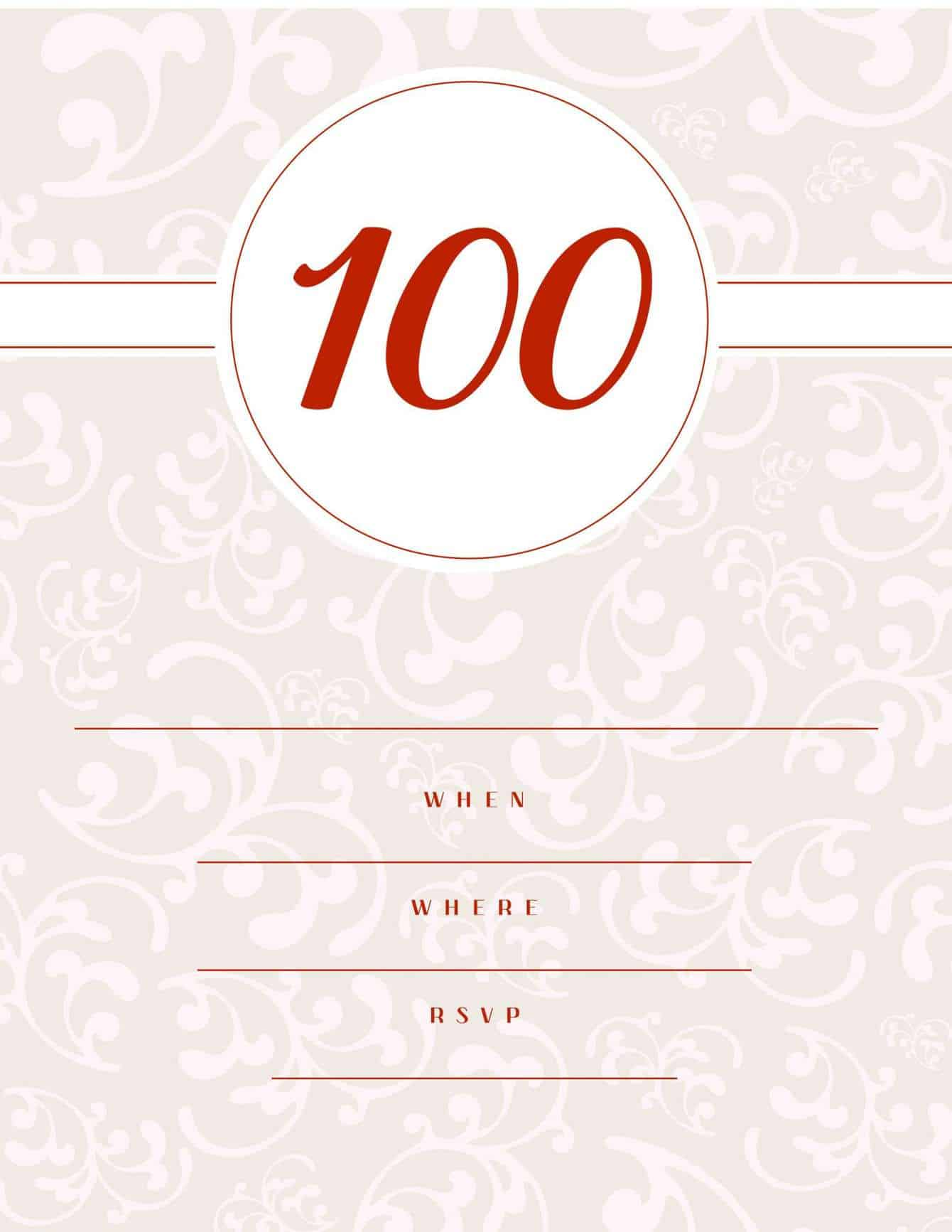 100th birthday invitation pink with floral background classic style