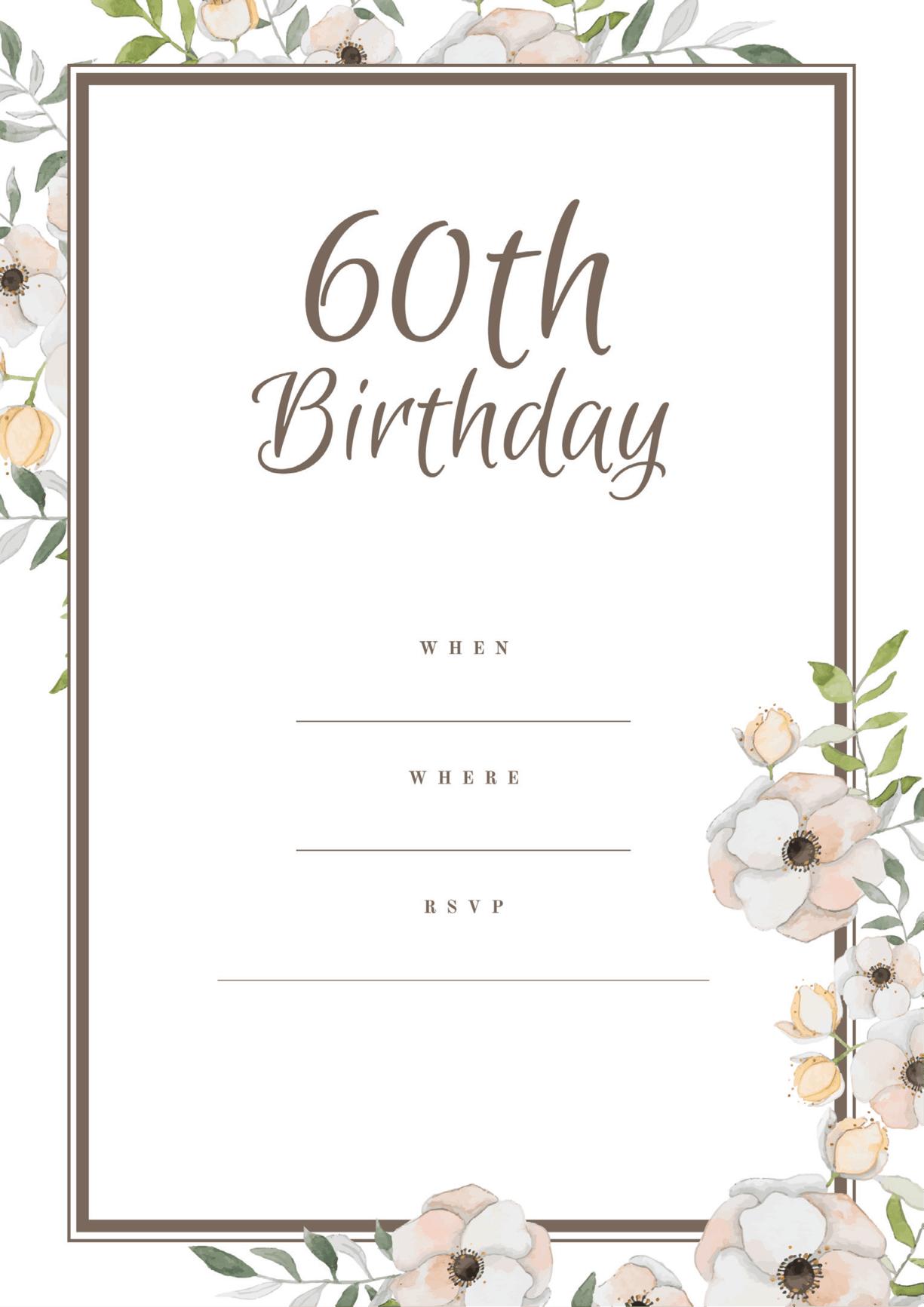 60th birthday invitation magnolia flower design