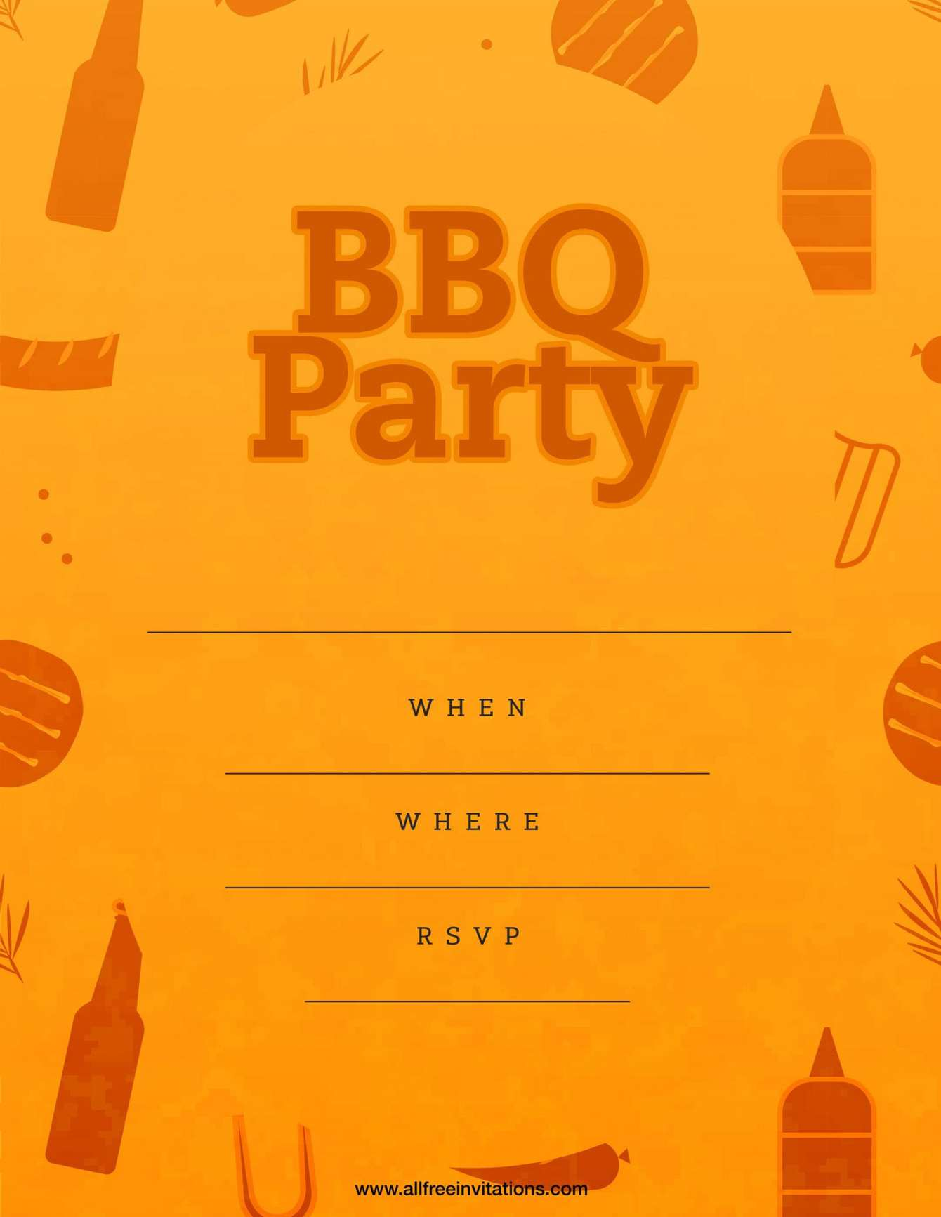 Bbq party invitation funky orange design
