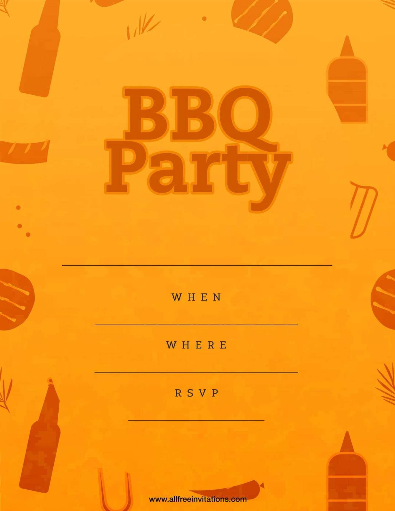 Bbq party invitation funky orange design