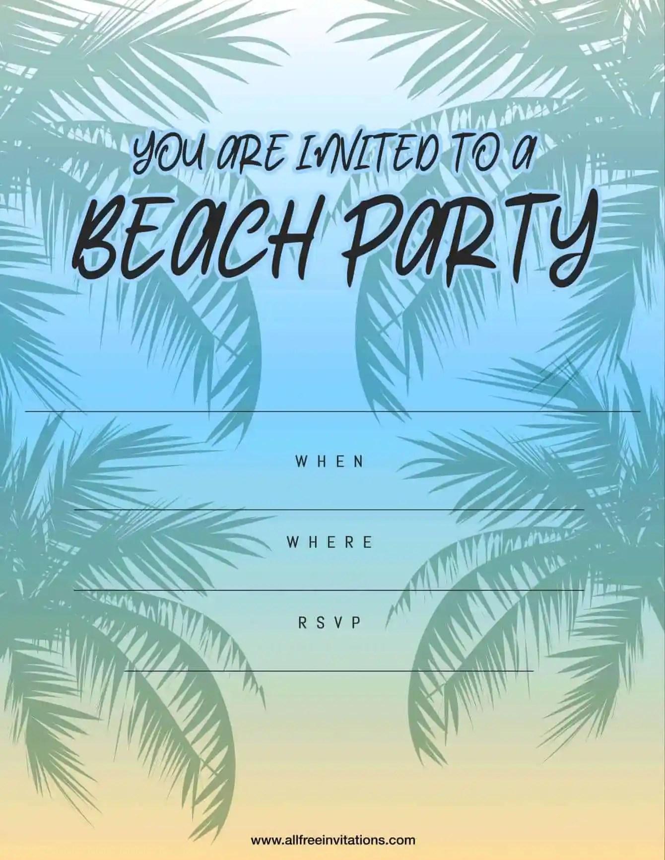 Beach Part Invitation Palm Tree and Sunset Design