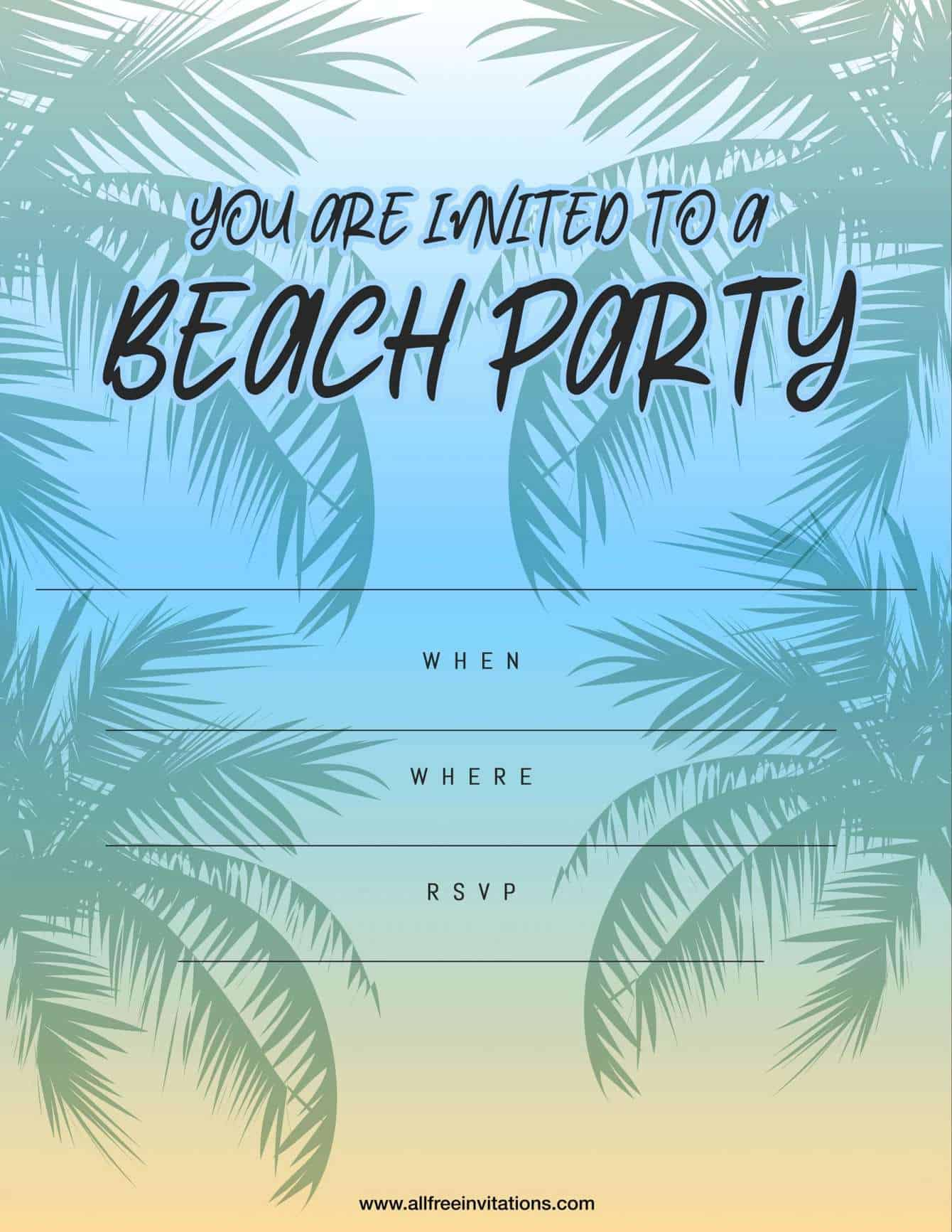 Beach Part Invitation Palm Tree and Sunset Design