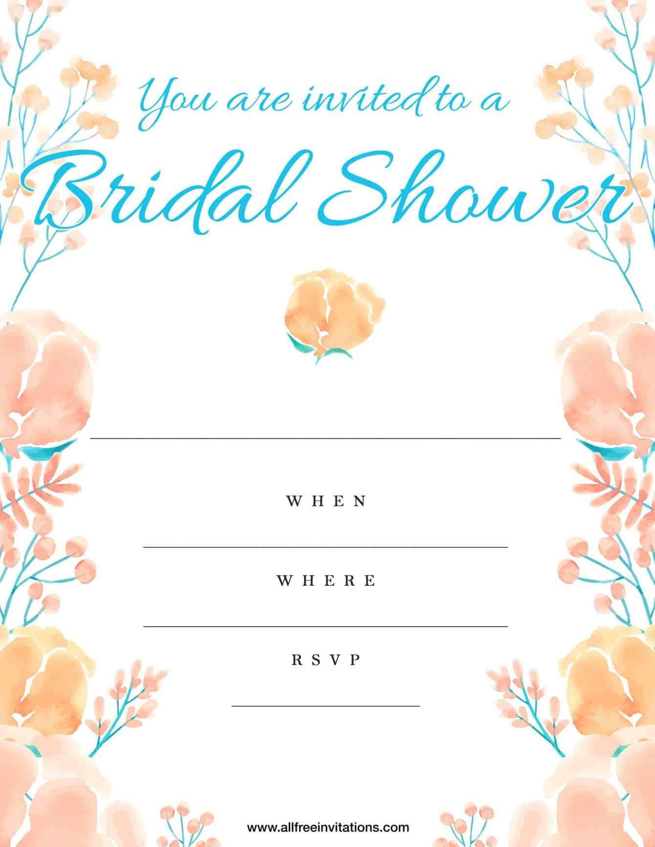 Bridal shower invitation peach and white floral design