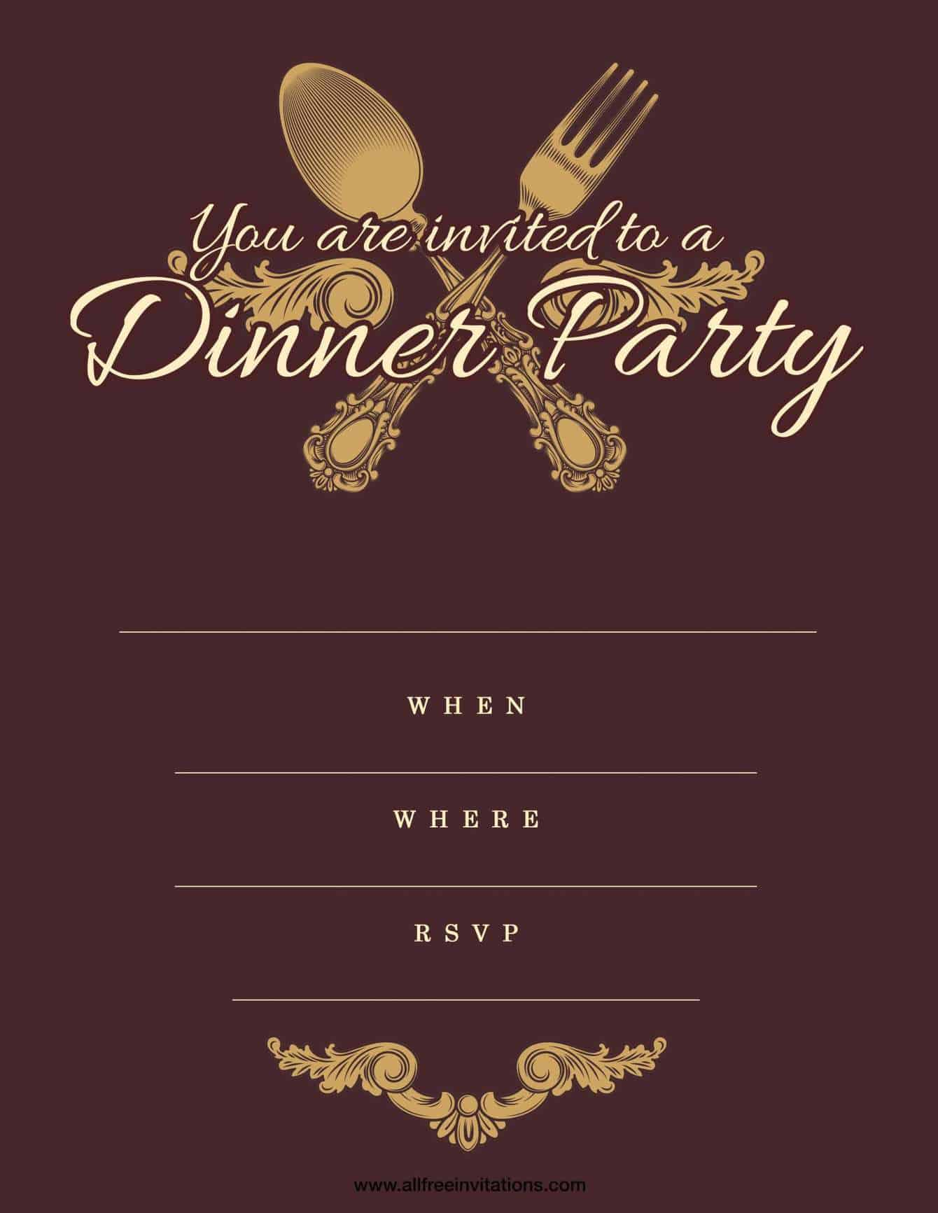 Dinner party invitation antique fork and spoon gold design