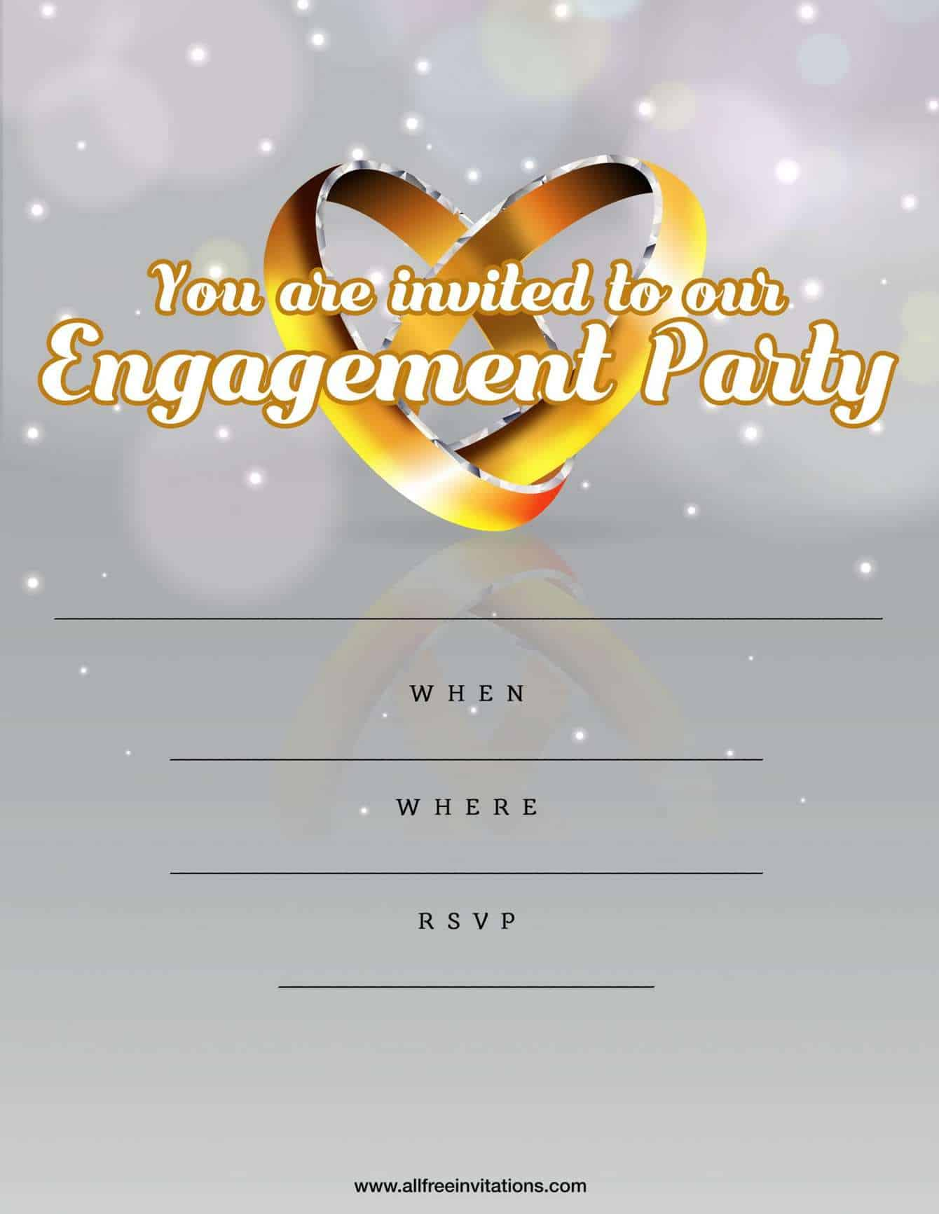Engagement party invitation silver and gold design