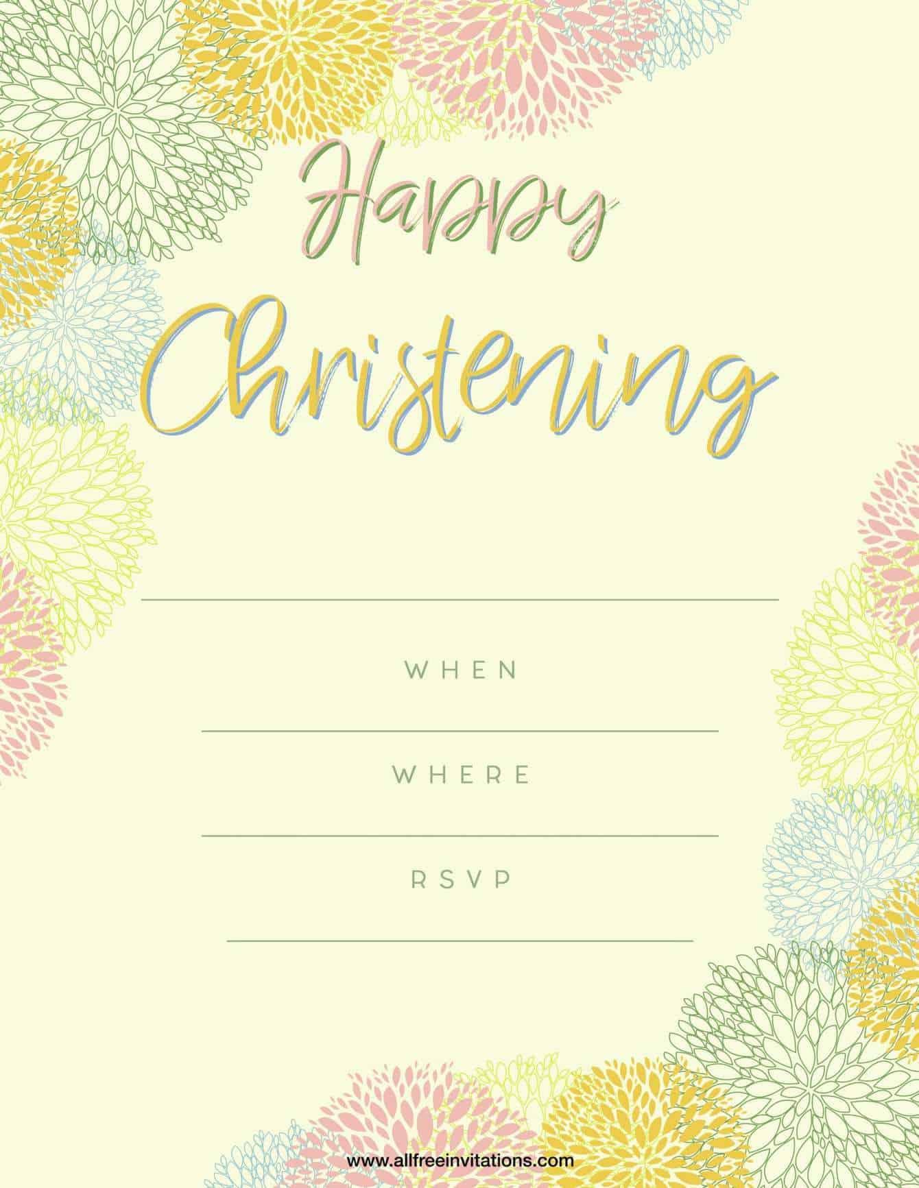 Happy Christening Party Invitation Light  Yellow Design