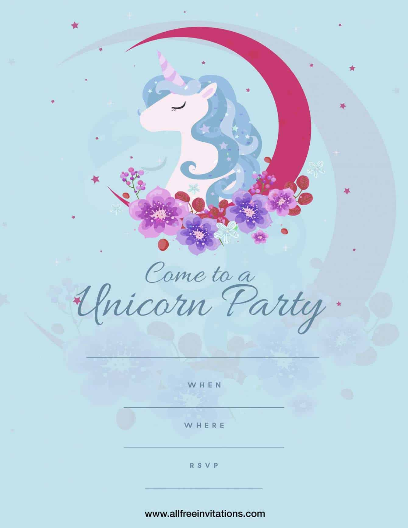 Kids birthday party invitation pink moon unicorn design