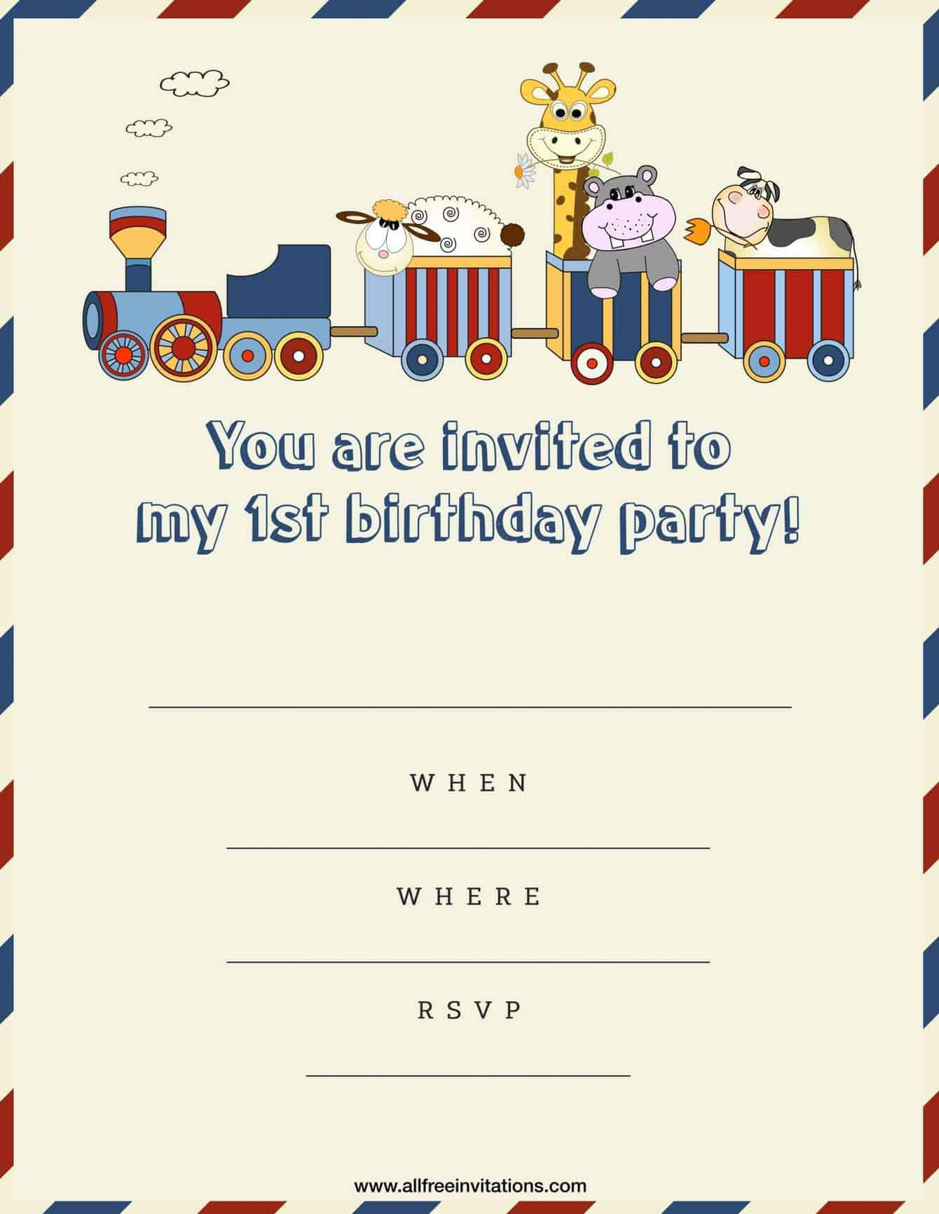 1st Birthday Party Invitation Brown Train