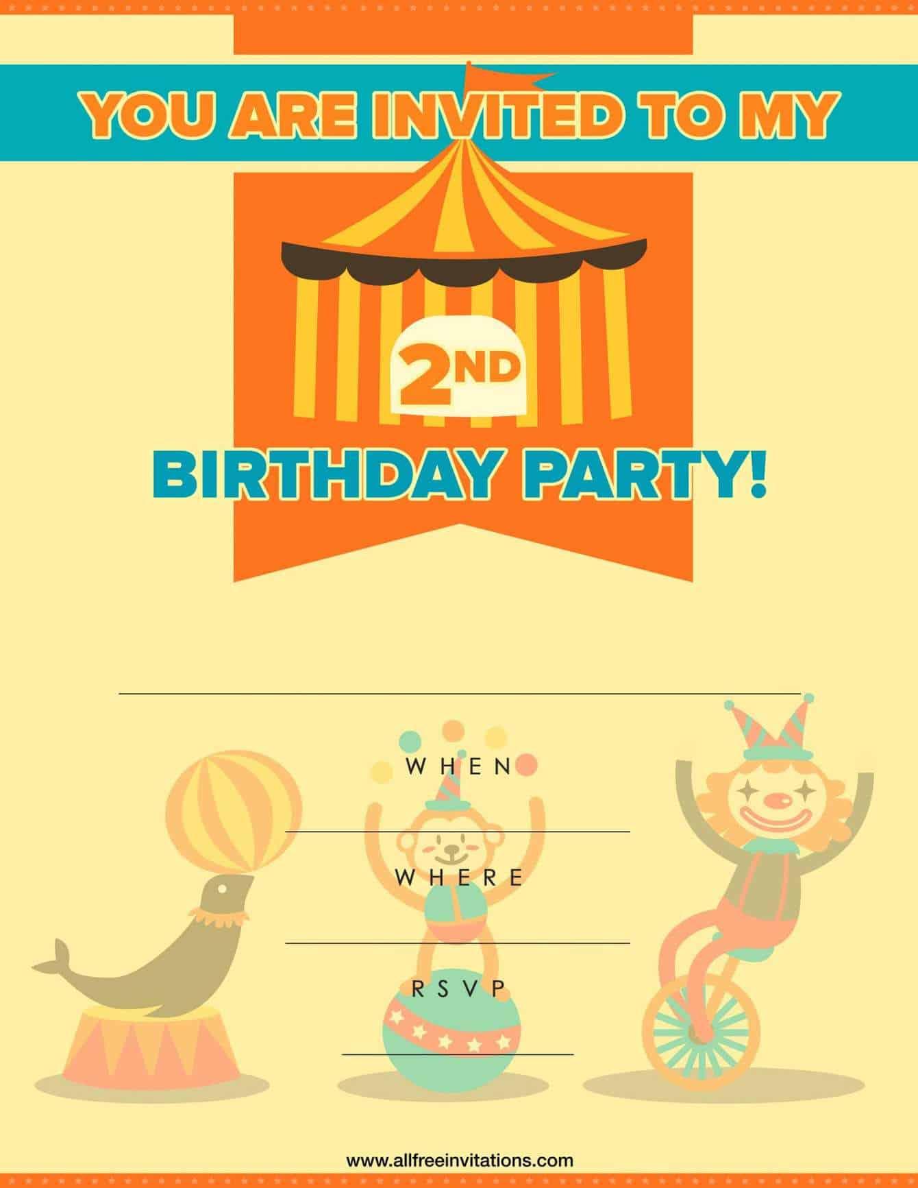2Nd Birthday Party Invitation Orange Circus